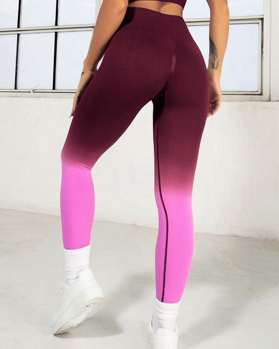 Ombre Wide Waistband Butt Lifting Sports Leggings gallery 13