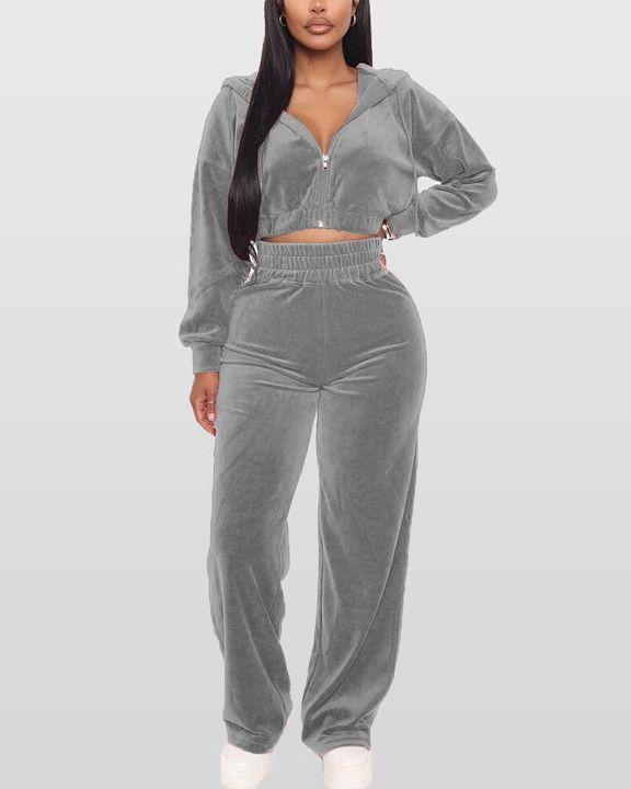Solid Hooded Zipper Crop Top & Pants Set gallery 3
