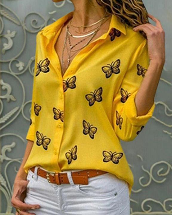 Butterfly Print Button Up Shirt gallery 1