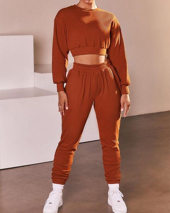 Solid Ribbed Long Sleeve Crop Top & Pants Set gallery 5