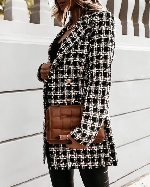 Plaid Double Breasted Lapel Neck Coat gallery 8