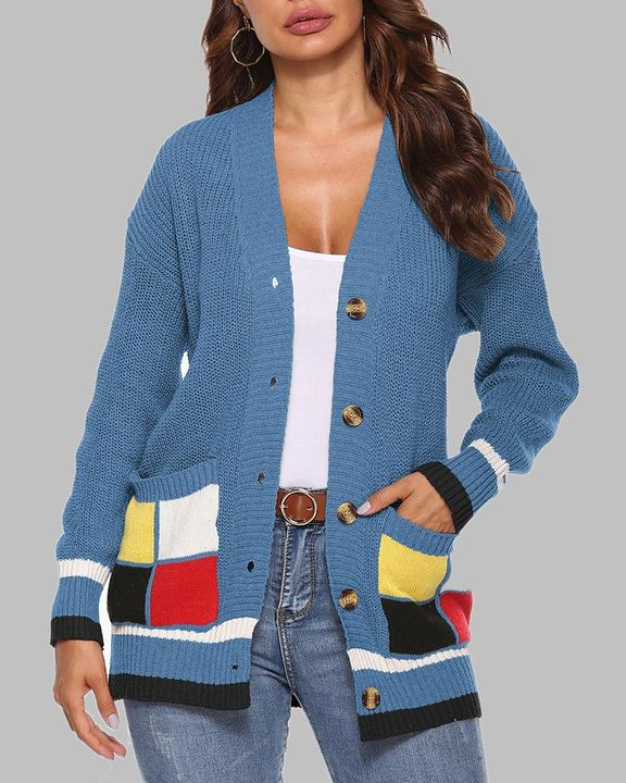 Colorblock Open Front Pocket Detail Button Trim Cardigan gallery 2