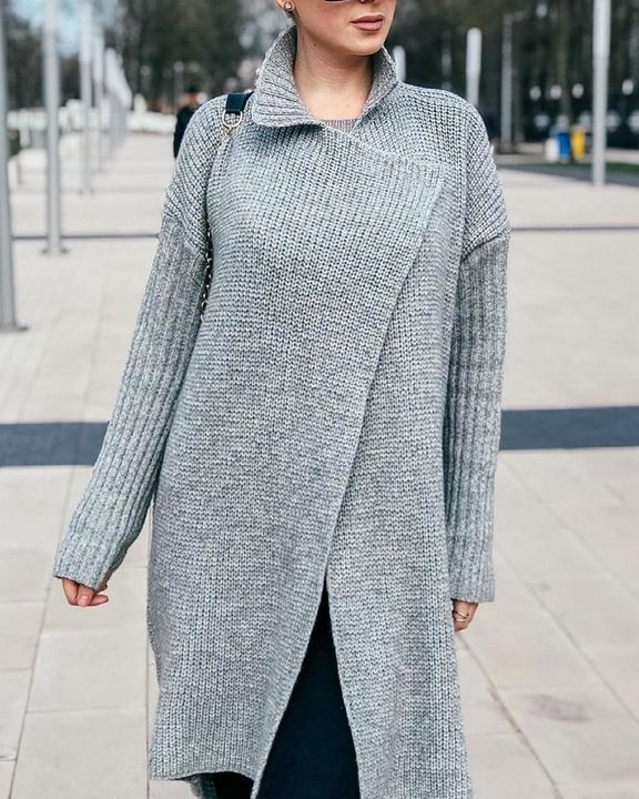 Solid Rib-Knit Open Front Lapel Neck Cardigan gallery 7
