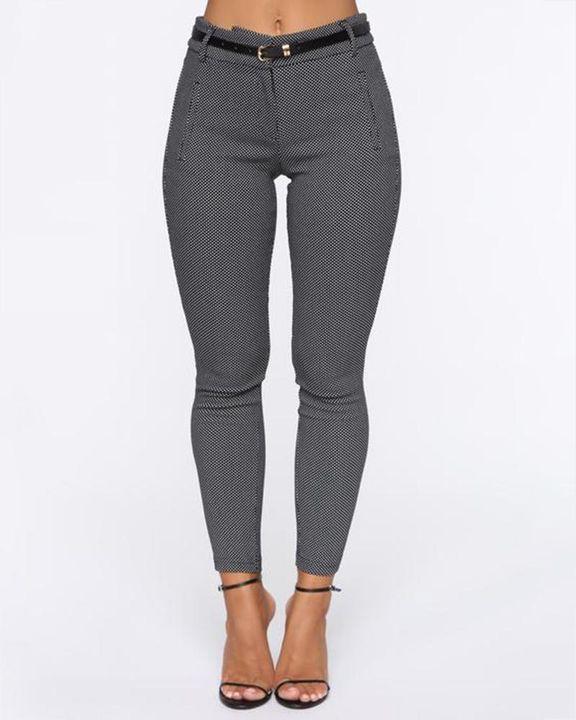 Plaid  Slant Pocket Self-Belted Mid Rise Pants gallery 1