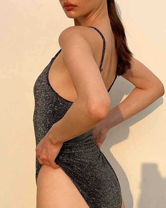 Solid Glitter Form Fitted Cami Bodysuit gallery 4