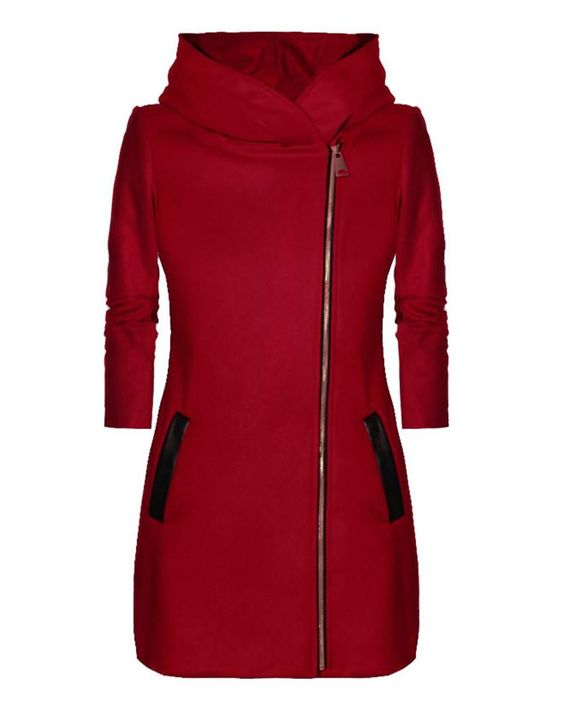 Zip Up Front Pocket Detail Hooded Coat gallery 2
