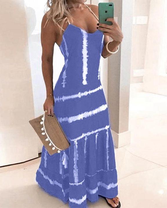 Abstract Halter Maxi Dress gallery 7