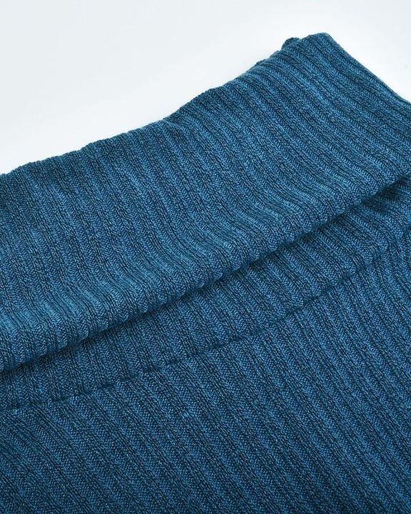 Solid Button Detail Ribbed High Neck Sweater gallery 14