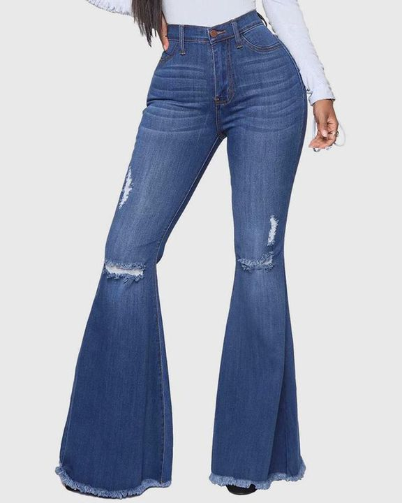 Ripped Raw Edge High Waist Flare Jeans gallery 1