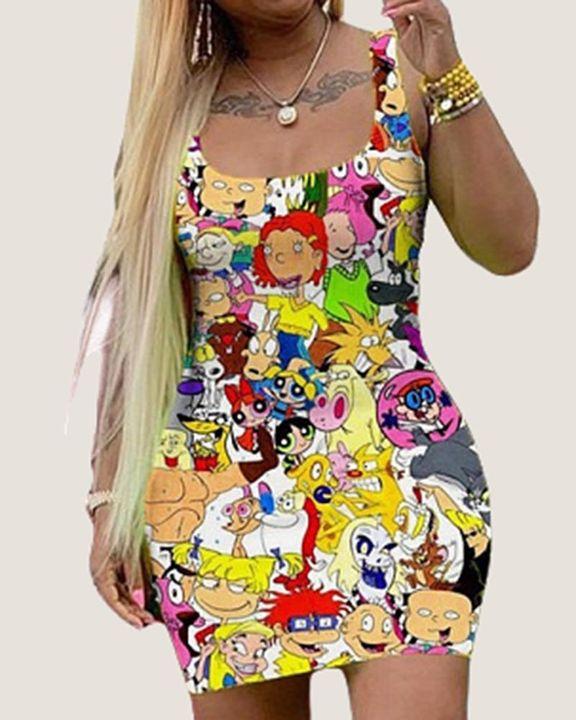 Cartoon Print Square Neck Bodycon Dress gallery 2