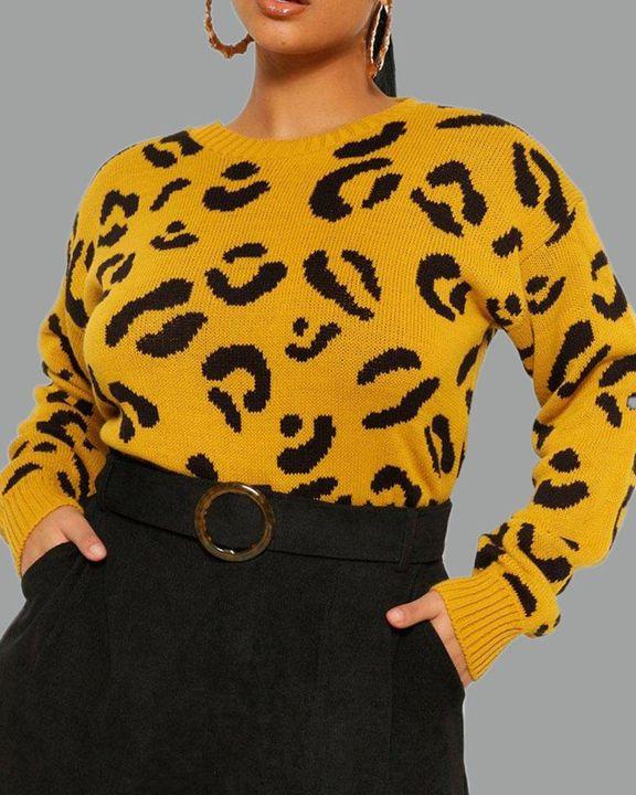 Leopard Print Rib-Knit Round Neck Sweater gallery 4
