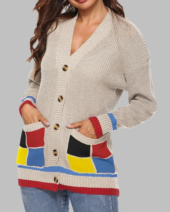 Colorblock Open Front Pocket Detail Button Trim Cardigan gallery 9