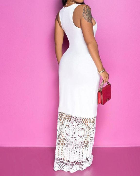 Floral Hollow Out Stitch Straps Maxi Dress gallery 3