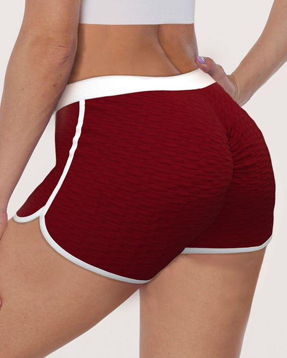 Contrast Binding Textured Ruched Sports Shorts gallery 1