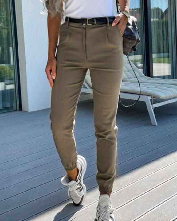 Solid Slant Pocket Elastic Hem Crop Pants gallery 3