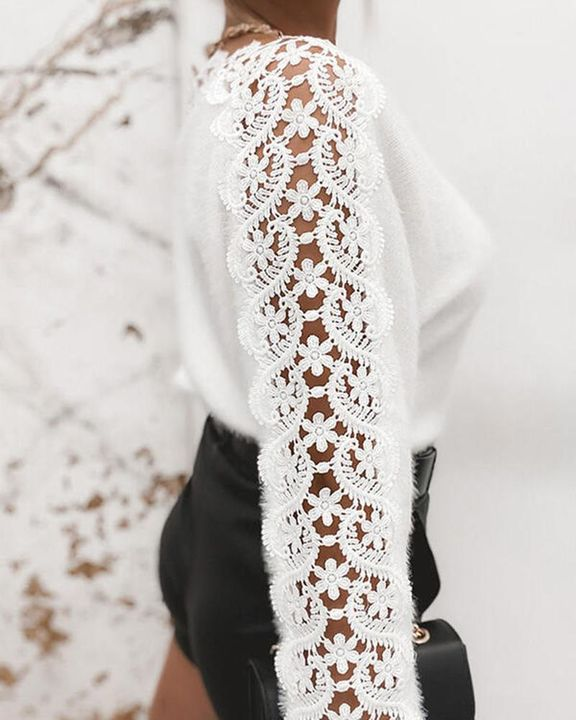 Floral Lace Raglan Sleeve Fuzzy Knit Sweater gallery 2