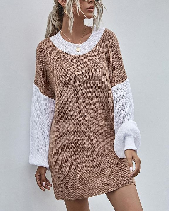 Colorblock Chunky Knit Drop Bishop Sleeve Sweater gallery 4