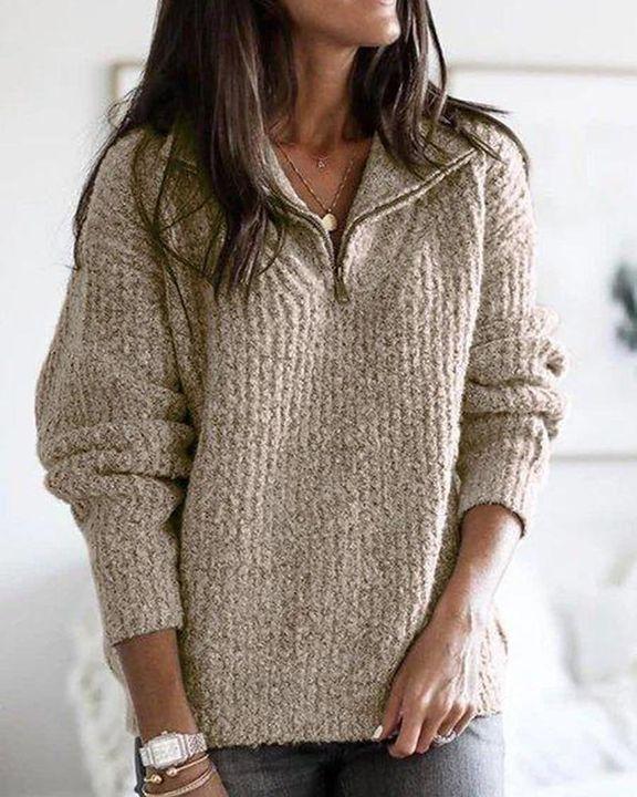 Fuzzy Knit Half Zip Drop Shoulder Sweater gallery 3