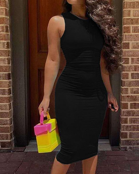 Solid Sleeveless Form Fitted Midi Dress gallery 7