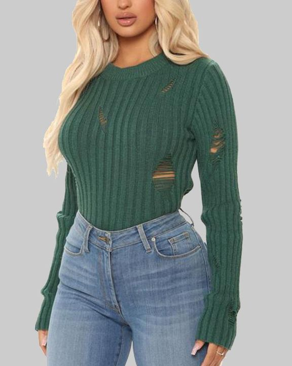 Rib Knit Ripped Bodycon Sweater gallery 1