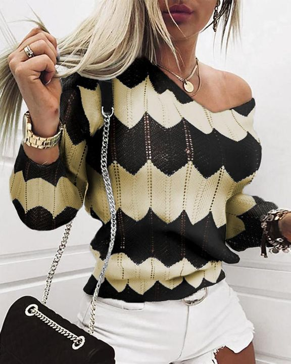 Chevron Print Hollow Out V Neck Sweater gallery 3