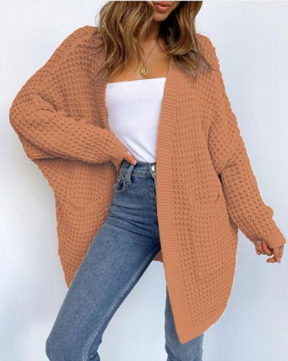 Solid Ribbed Pocket Detail Open Front Cardigan gallery 2