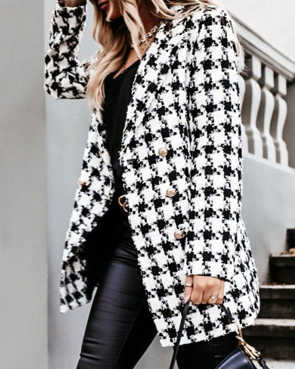 Houndstooth Double Breasted Lapel Neck Coat gallery 7