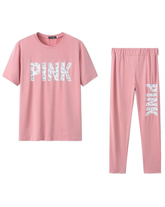 Letter Print Contrast Binding Round Neck Tee & Pants Set gallery 11