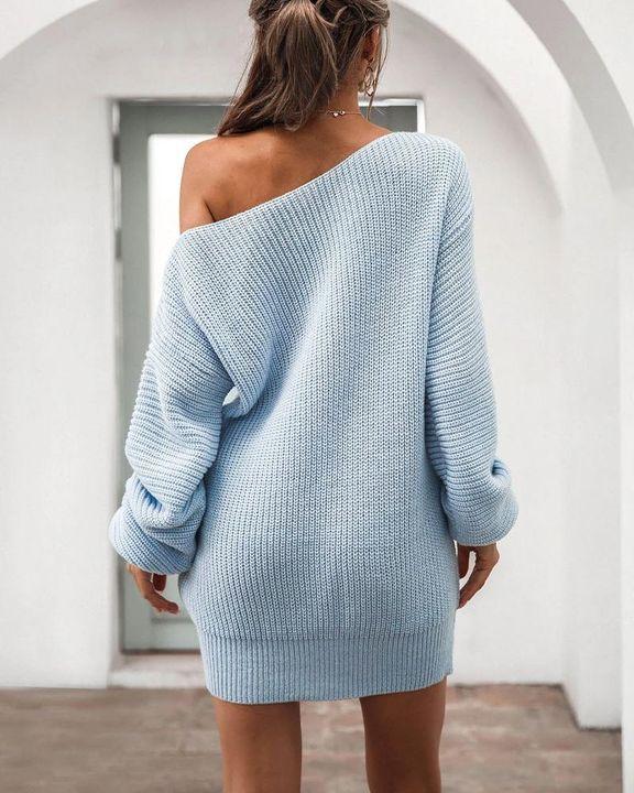 Boat Neck Lantern Sleeve Sweater Dress gallery 6