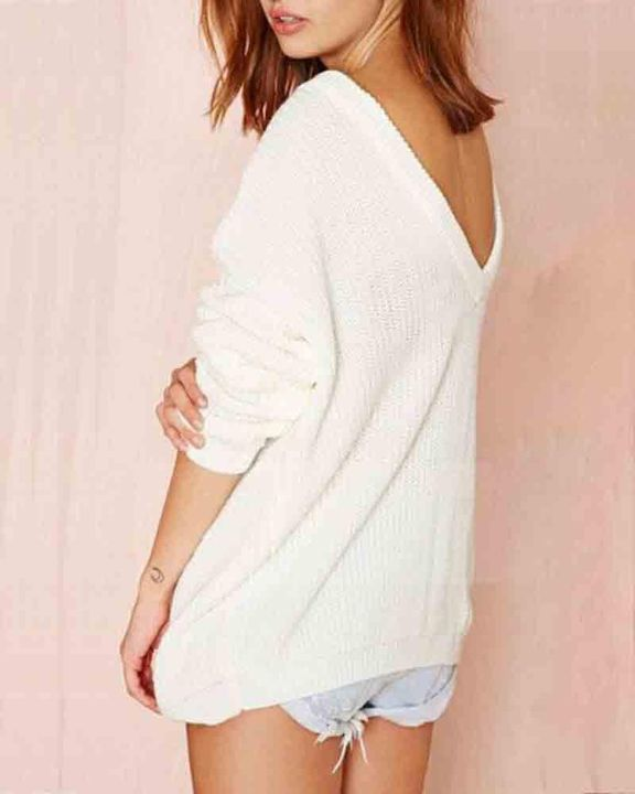 Chunky Knit Cutout Back Drop Shoulder Sweater gallery 5
