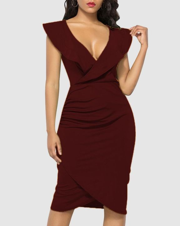 Solid Ruffle Trim Ruched Wrap Asymmetrical Hem Knee Length Dress gallery 4