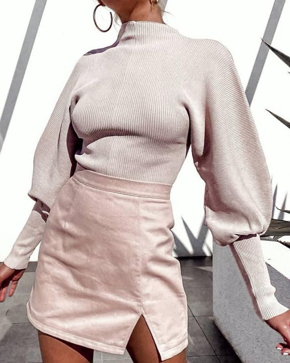 Solid Ribbed Leg-of-mutton Sleeve Sweater gallery 6