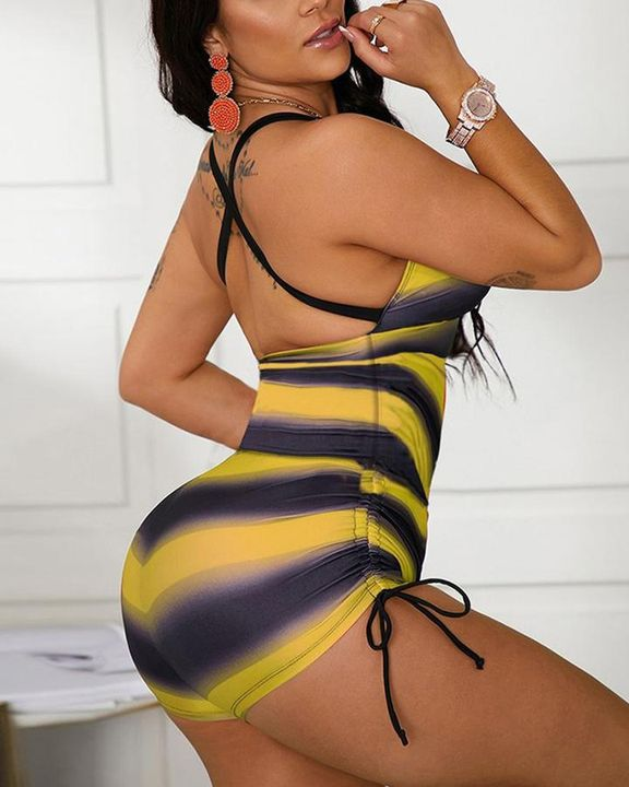 Striped Criss Cross Back Drawstring Side One Piece Swimsuit gallery 6
