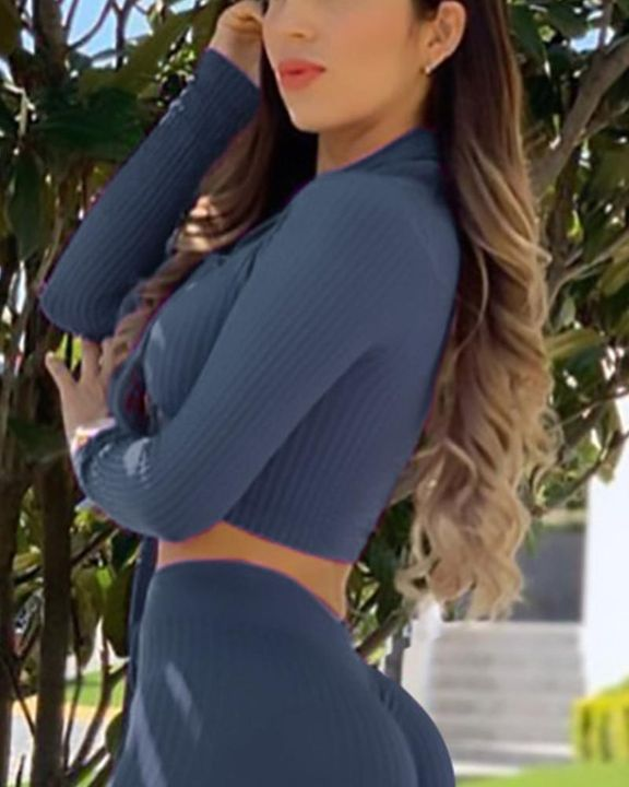 Solid Rib-Knit Zip Decor Form Fitting Sports Crop Top gallery 7