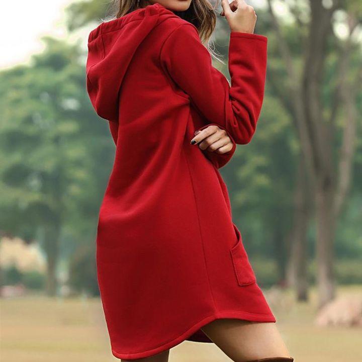 Solid Kangaroo Pocket Drawstring Mini Hooded Dress gallery 6
