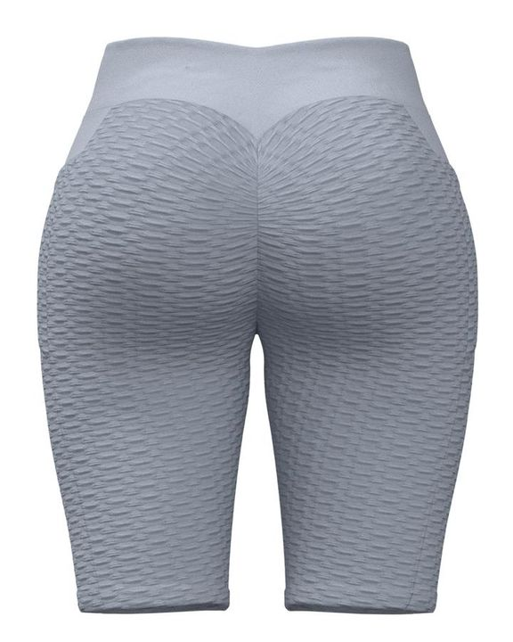 Textured Ruched Back Pocket Detail Sports Shorts gallery 6