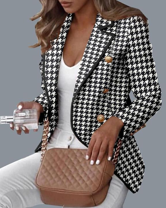 Double Breasted Buckle Decor Houndstooth Blazer gallery 1