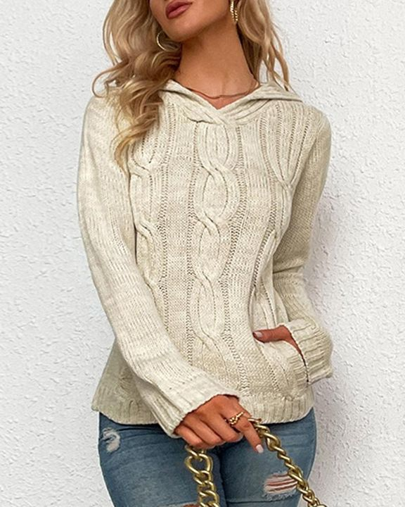 Cable Knit Long Sleeve V Neck Sweater gallery 1