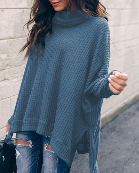 Solid Split Hem High Neck Sweater gallery 4