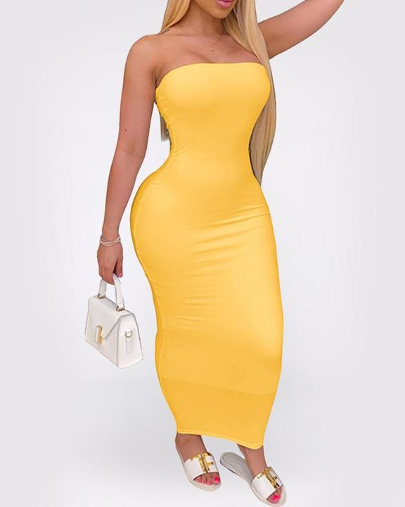 Solid Strapless Tube Maxi Dress gallery 4