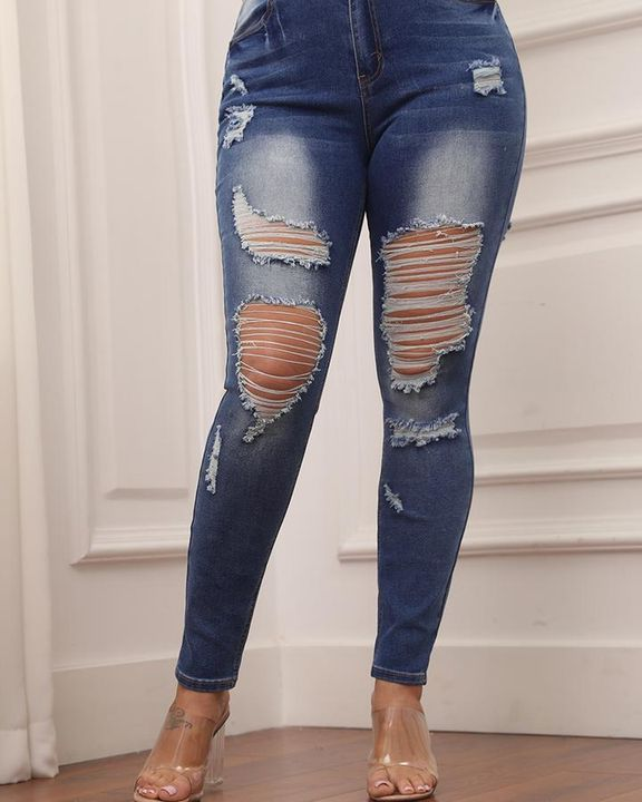Knee Distressed Butt Lifting Skinny Jeans gallery 7