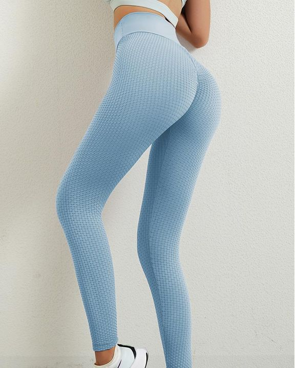 Solid Textured Butt Lifting Leggings gallery 15