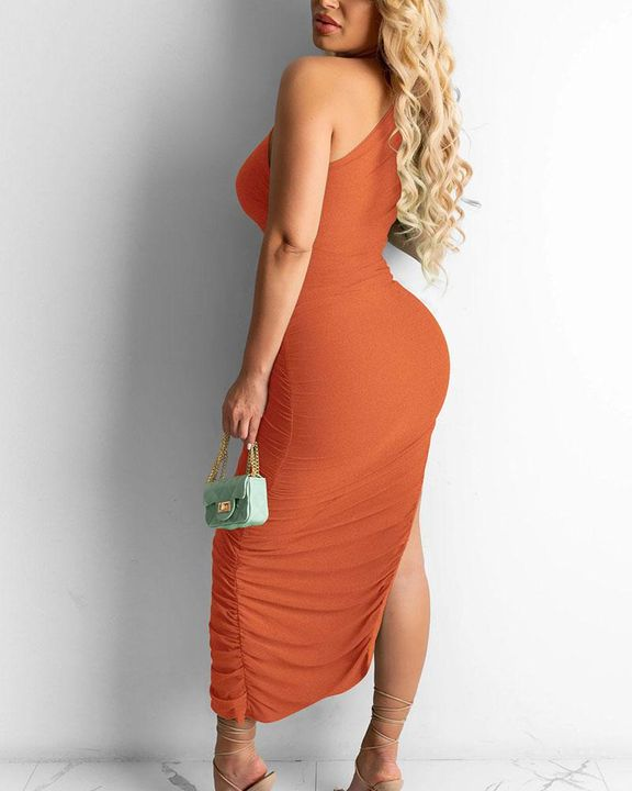 Solid One Shoulder Split Thigh Ruched Dress gallery 15