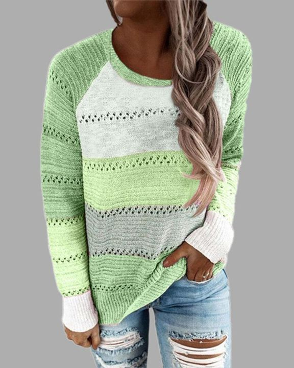 Colorblock Rib-Knit Hollow Out Round Neck Sweater gallery 4