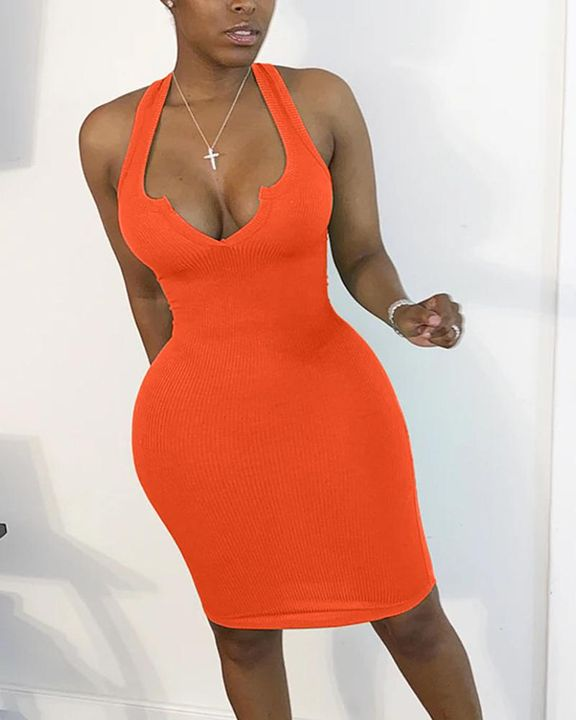 Solid Rib-Knit Notched Neck Short Dress gallery 3