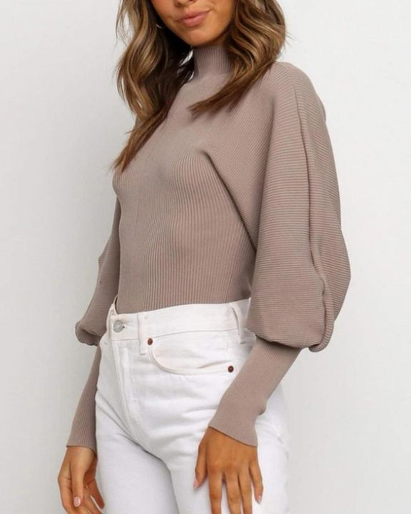 Solid Ribbed Leg-of-mutton Sleeve Sweater gallery 8