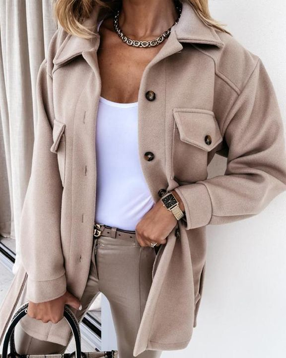 Self-Belted Flap Pocket Button Up Coat gallery 10