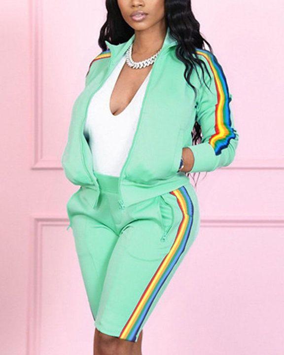 Rainbow Stripe Side Zip Up Collar Jacket Top & Shorts Set gallery 5