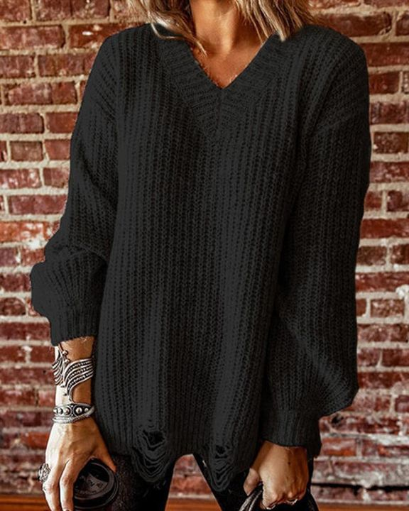 Chunky Knit Drop Bishop Sleeve Sweater gallery 2