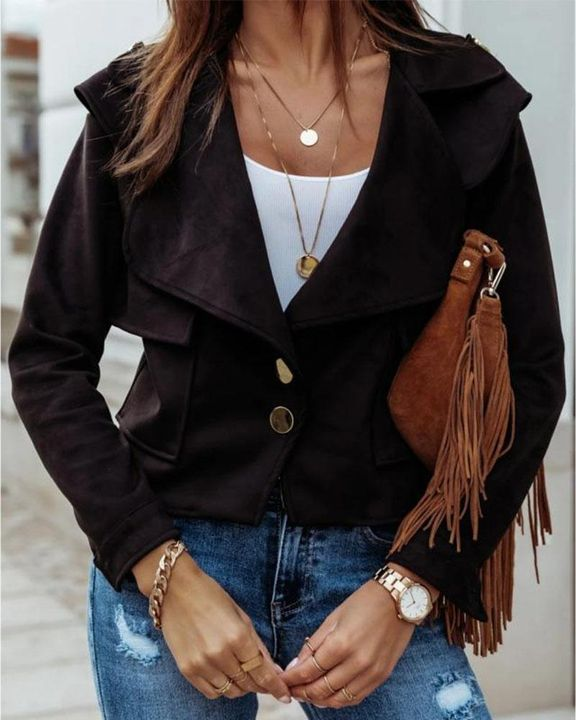 Suede Button Front Flap Pocket Moto Jacket gallery 3